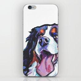 Berner Bernese Mountain Dog Portrait Pop Art painting by Lea iPhone Skin