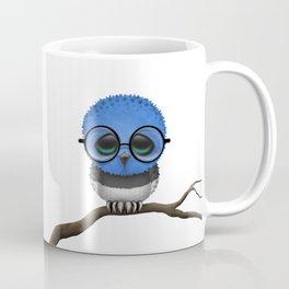 Baby Owl with Glasses and Estonian Flag Coffee Mug