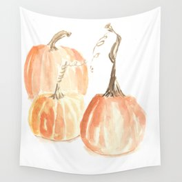 Twisted Stem Pumpkins in Watercolor Wall Tapestry