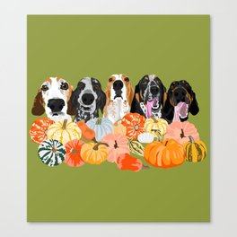 Coonhounds and Gourd Canvas Print