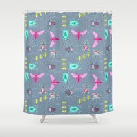 insects Shower Curtains featuring Insects by Micaela Zahner Design