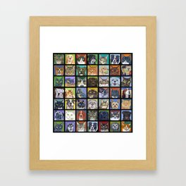 Cats and Dogs in Black Framed Art Print