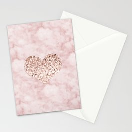 Rose gold - heart Stationery Cards