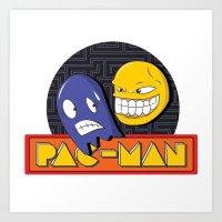 pac man Art Prints featuring pac-man by Jung Imjen
