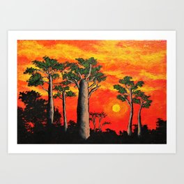 Baobabs of Madagascar by Mike Kraus - africa trees landscapes red orange black nature beautiful Art Print
