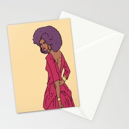 Purple afro Stationery Cards