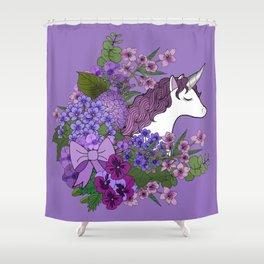 Unicorn in a Purple Garden Shower Curtain