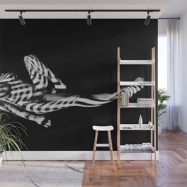 1941-MS Zebra Striped Nude Woman Black and White Art Nude Wall Mural