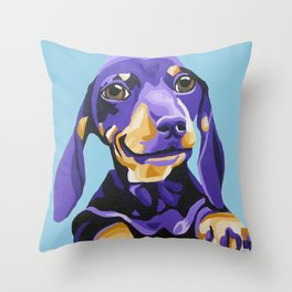 Dachshund Portrait in Blue Throw Pillow