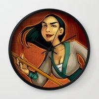 mulan Wall Clocks featuring MULAN by Kaja Reinki