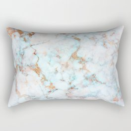 Soft Whites, Aquas and Blush of Pink and Rose Gold Veins Marble Rectangular Pillow