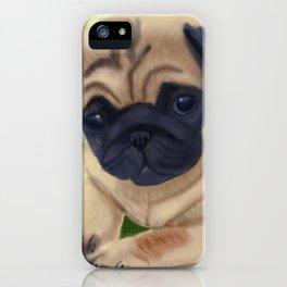 Cute pug on green sofa iPhone Case