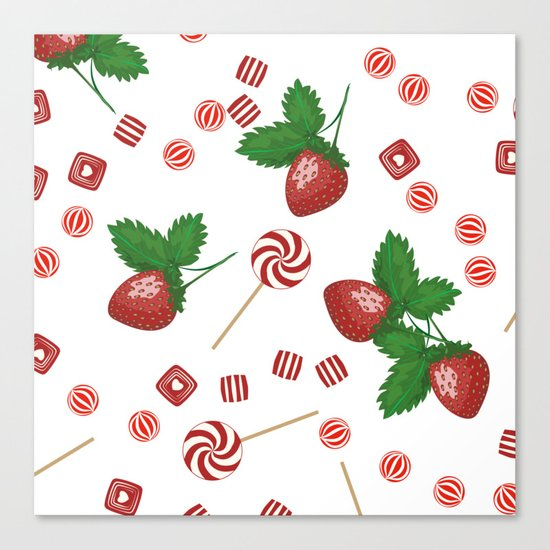 Candy lollipops Strawberry sweets Canvas Print