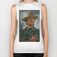 clint eastwood Biker Tanks featuring  Clint Eastwood by andy551