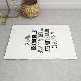 St Bernard Dog Cute Quote Rug