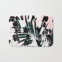 Modern geometric triangles black white abstract marble pattern palm tree leaf pink ombre Bath Mat