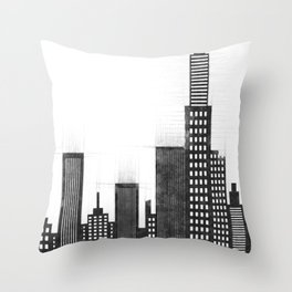 Modern City Buildings And Skyscrapers Sketch, New York Skyline, Wall Art Poster Decor, New York City Throw Pillow