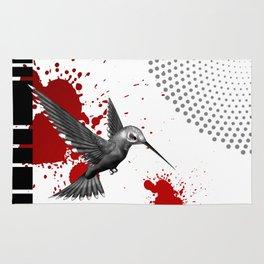 Trash Polka Flying Hummingbird Geometric Shapes Rug