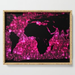 Pink Sparkle World Map Serving Tray