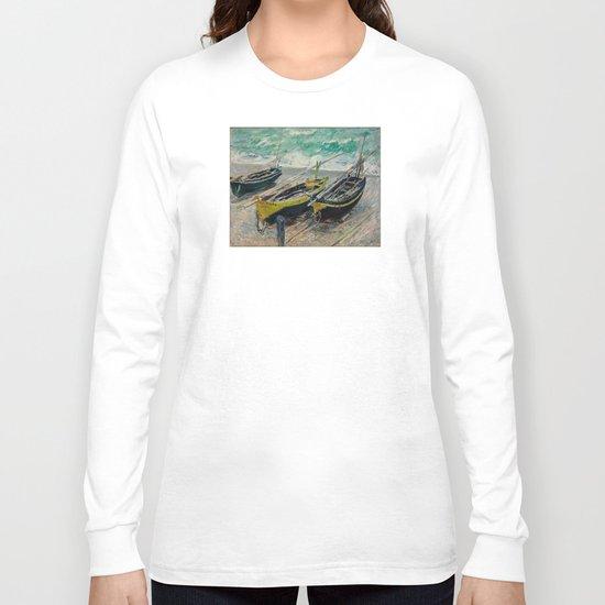 Claude Monet - Three Fishing Boats Long Sleeve T-shirt