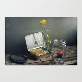 Still life with faded flowers Canvas Print