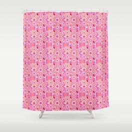 Mandala Pattern, Fuchsia, Coral and Peach Shower Curtain