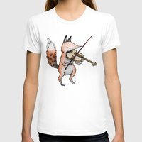 violin T-shirts featuring Violin Fox by Sophie Corrigan