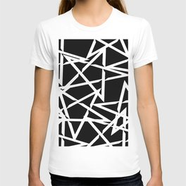 Interlocking White Star Polygon Shape Design T-shirt