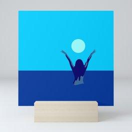 Blue sky and moon is calling me.. Mini Art Print