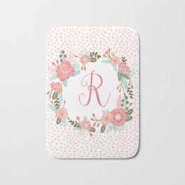 Monogram R - cute girls coral florals flower wreath, coral florals, baby girl, baby blanket Bath Mat