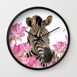 Zebra between Lotos Flower field Wall Clock
