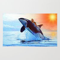 orca Area & Throw Rugs featuring Orca Queen by JT Digital Art