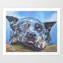 Australian Cattle Dog portrait by L.A.Shepard fine art painting blue heeler Art Print