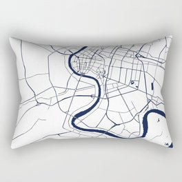 Bangkok Thailand Minimal Street Map - Navy Blue and White Rectangular Pillow