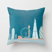 travel poster Throw Pillows featuring Vintage London Travel Poster by Travel Poster Co.