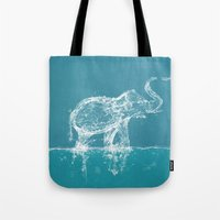 yetiland Tote Bags featuring Elephant by Paula Belle Flores