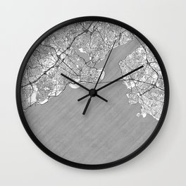 Istanbul Map Line Wall Clock