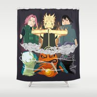 sasuke Shower Curtains featuring Team 7 On the Move by rendhy wahyu