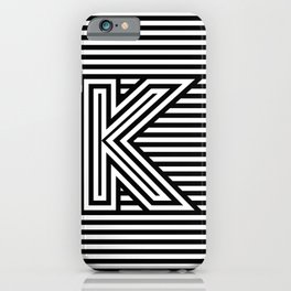 Track - Letter K - Black and White iPhone Case