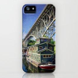 Houseboat and Aurora Bridge iPhone Case