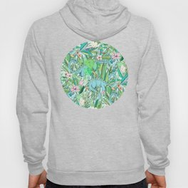 Improbable Botanical with Dinosaurs - soft pastels Hoody