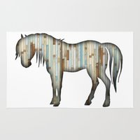 wooden Area & Throw Rugs featuring Wooden horse by Vin Zzep