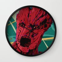 guardians of the galaxy Wall Clocks featuring Groot Guardians of the galaxy by W.B.
