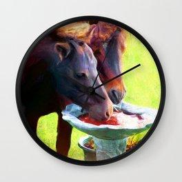Bird Bath Quench Wall Clock