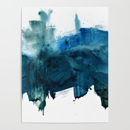Change: A minimal abstract acrylic painting in blue and green by Alyssa Hamilton Art Poster