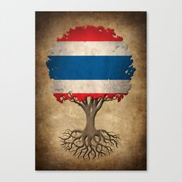 Vintage Tree of Life with Flag of Thailand Canvas Print
