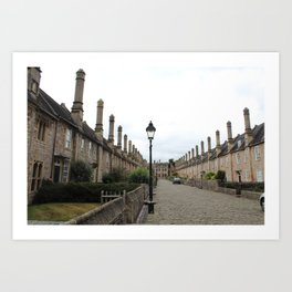 Wells Cathedral Classic/historic/old houses and side street in England Art Print