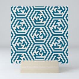 Moroccan Teal Ornate Geometric Pattern Mini Art Print