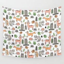 Woodland foxes rabbits deer owls forest animals cute pattern by andrea lauren Wall Tapestry