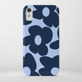 Large Dark Blue Retro Flowers Baby Blue Background #decor #society6 #buyart iPhone Case